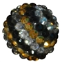 20mm Black Gold and Silver Rhinestone Bead