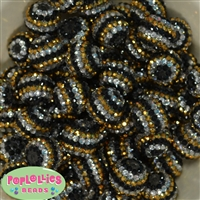 20mm Black Gold and Silver Rhinestone Bubblegum Beads