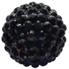 20mm Black Rhinestone Bubblegum Beads