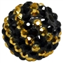 20mm Gold and Black Stripe Rhinestone Bubblegum Beads
