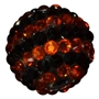 20mm Black and Orange Stripe Rhinestone Bead