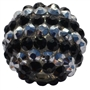 20mm Silver and Black Stripe Rhinestone Bubblegum Beads