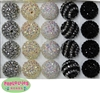 20mm Black/White Rhinestone Bubblegum Bead Mix