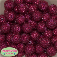 20mm Boysenberry  Rhinestone Bubblegum Beads Bulk