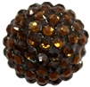 20mm Brown Rhinestone Bubblegum Beads