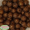 20mm Brown Rhinestone Bubblegum Beads Bulk