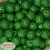 20mm Christmas Green Rhinestone Beads