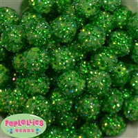 20mm Green Confetti Rhinestone Beads