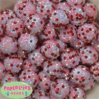 20mm Love Valentine Confetti Rhinestone Beads