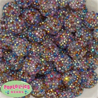 20mm Magic Confetti Rhinestone Bubblegum Beads
