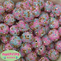 20mm Unicorn Confetti Rhinestone Bubblegum Beads