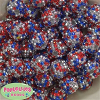 20mm USA Confetti Rhinestone Bubblegum Beads