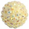 20mm Cream Rhinestone Bubblegum Beads