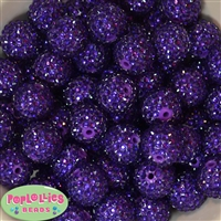 20mm Deep Purple Rhinestone Bubblegum Beads
