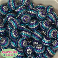 20mm Frozen Stripe Rhinestone Bubblegum Beads