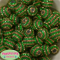 20mm Green and Gold Stripe Rhinestone Bubblegum Beads