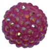 20mm Hot Pink Rhinestone Bubblegum Beads