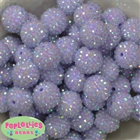 20mm Ice Lavender Rhinestone Bubblegum Beads