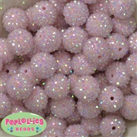 20mm Ice Pink Rhinestone Bubblegum Beads
