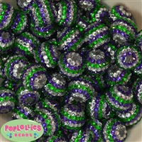 20mm Green, Silver and Purple Stripe Rhinestone Bubblegum Beads Bulk