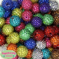 20mm Metallic Rhinestone Mix Bubblegum Beads Bulk