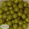 20mm Yellow Metallic Rhinestone Bubblegum Beads