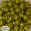 20mm Yellow Metallic Rhinestone Bubblegum Beads Bulk