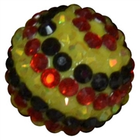 20mm Black, Yellow, Red Stripe Rhinestone Bubblegum Bead
