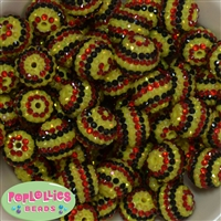 20mm Black, Yellow, Red Stripe Rhinestone Bubblegum Bead Bulk