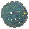 20mm Mint Rhinestone Bubblegum Beads