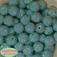 20mm Mint Rhinestone Bubblegum Beads Bulk