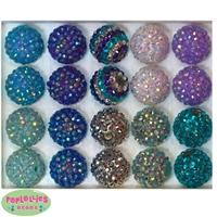 20mm Frozen Theme Rhinestone Bubblegum Bead Mix