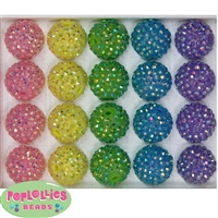 20mm Pastel Mix Rhinestone Bubblegum Beads