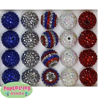 20mm Patriotic Rhinestone Bubblegum Bead Mix
