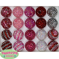 20mm Valentine Rhinestone Bubblegum Bead Mix