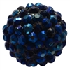 20mm Navy Blue Rhinestone Bubblegum Beads