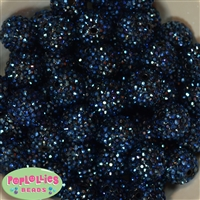 20mm Navy Blue Rhinestone Bubblegum Beads Bulk
