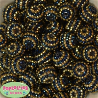 20mm Navy & Gold Stripe Rhinestone Bubblegum Beads Bulk