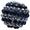 20mm Navy & Silver Stripe Rhinestone Bubblegum Beads