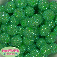 20mm Neon Green Rhinestone Bubblegum Beads Bulk
