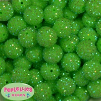 20mm Neon Lime Rhinestone Bubblegum Beads
