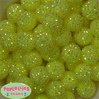 20mm Neon Yellow Rhinestone Bubblegum Beads Bulk