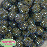 20mm Olive Green Rhinestone Bubblegum Beads Bulk