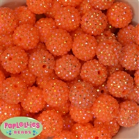 20mm Orange Rhinestone Bubblegum Beads Bulk