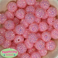 20mm Pale Pink Rhinestone Bubblegum Beads Bulk