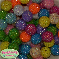 20mm Pastel Rhinestone Bubblegum Bead Mix