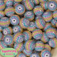 20mm Pastel Stripe Rhinestone Bubblegum Beads Bulk