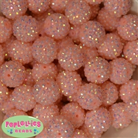 20mm Peach Rhinestone Bubblegum Beads Bulk