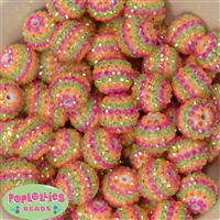 20mm Spring Stripe Rhinestone Bubblegum Beads