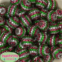 20mm Pink, Green, Silver Stripe Rhinestone Bubblegum Beads